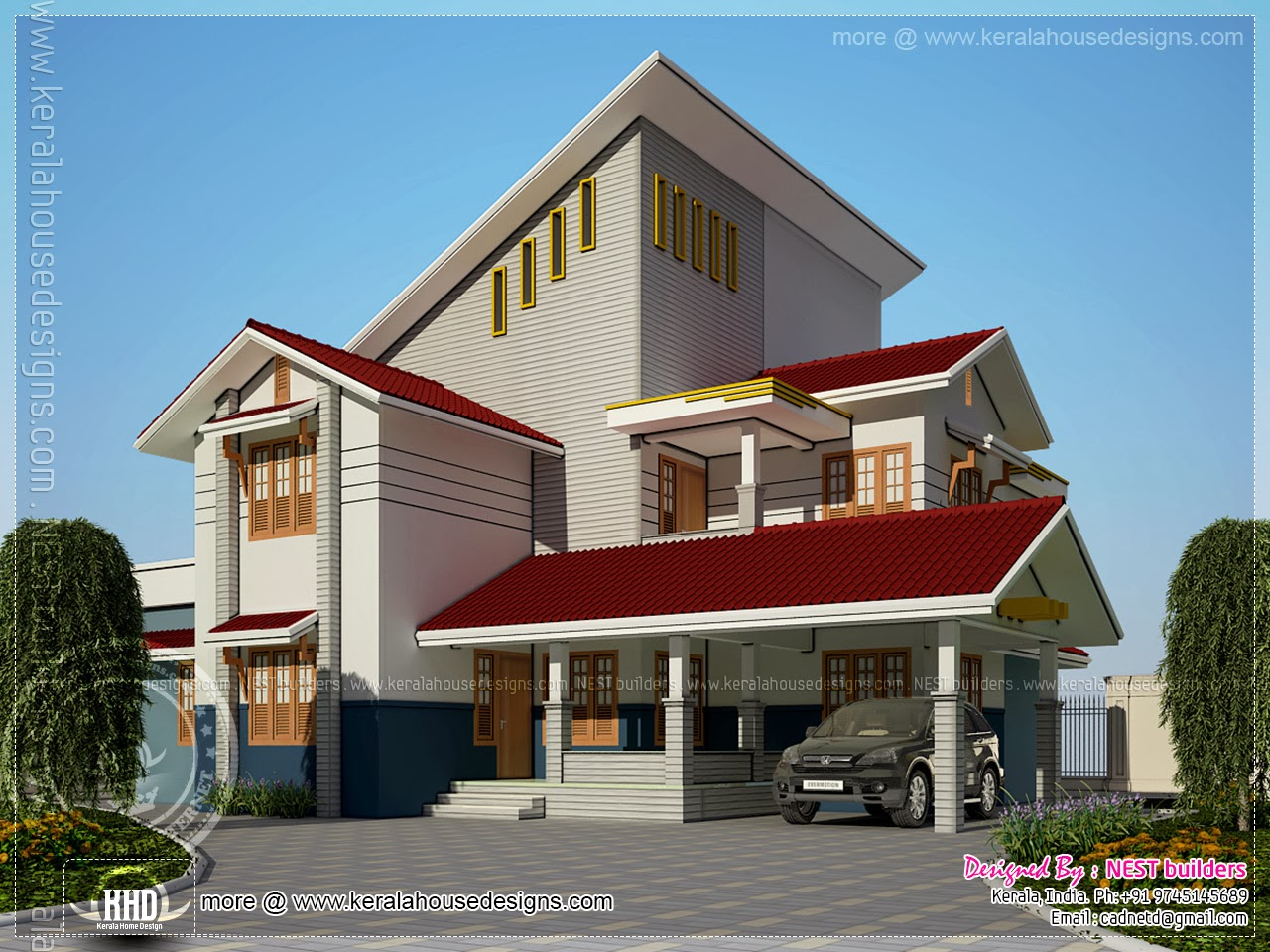 232 square meter modern home exterior kerala home design for 2500 sq ft home