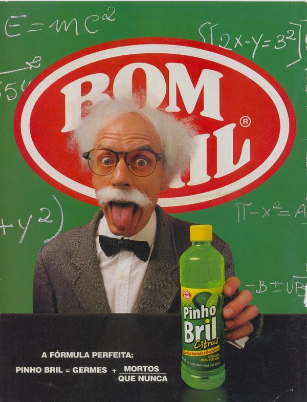 Propaganda do Pinho Bril Citrus apresentada em 1998 com Carlos Moreno interpretando Albert Einstein.