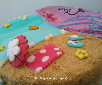 Tarta Cumpleaños Pastel Aniversario Tabla Surf Verano Playa Sol Arena Peces Fondant Red Velvet Bizcocho Esponjoso Crema Limón Lemon Curd  Niña Adolescente Rosa