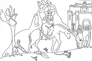 Christian coloring page of Jesus triumphal entry into Jerusalem on palm Sunday from Mount of olives bible coloring page