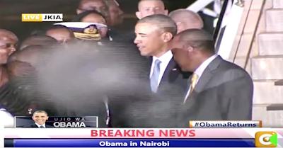 Alien / Demon Walks In Front Of Camera As Obama Says Goodbye In Nairobi,