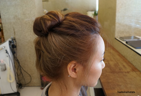Asian hairstyle two tone ash brown horizontal