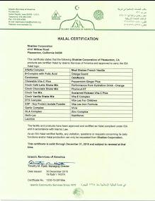 Shaklee HALAL Certificate