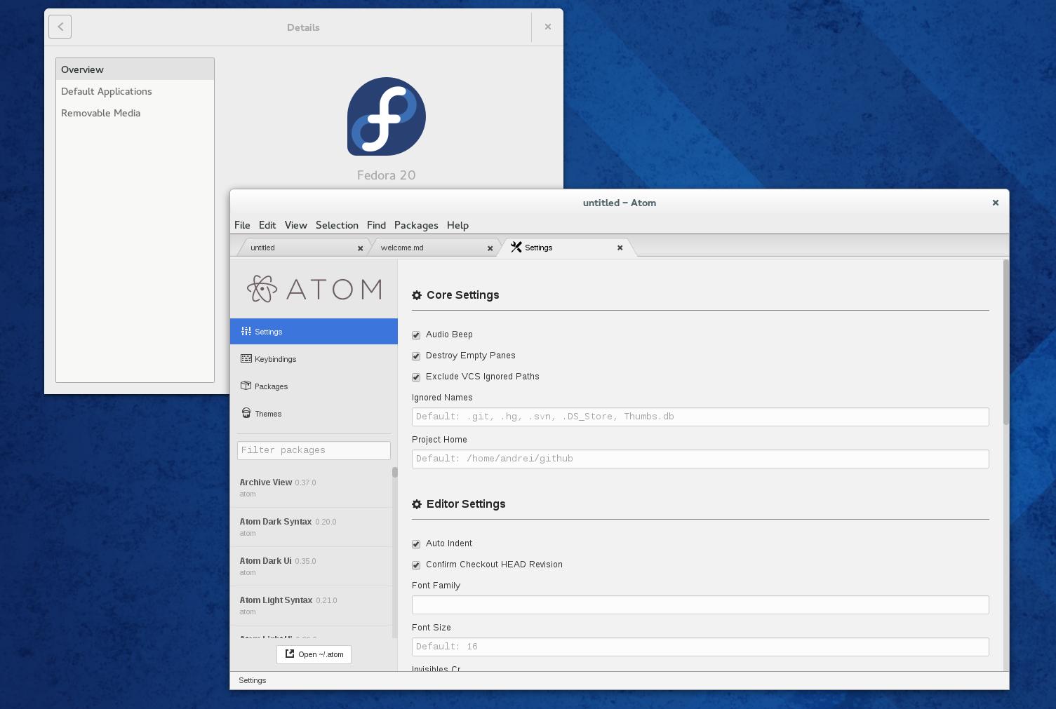 Atom Text Editor Fedora