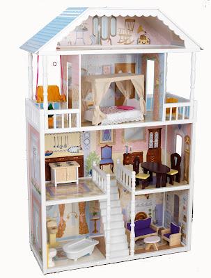 Кукольный домик из коробки для барби и мебель