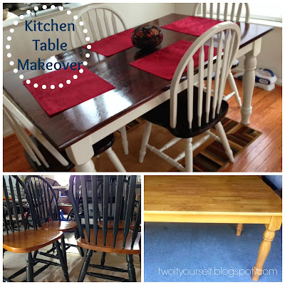 Two it yourself thrifted kitchen chairs makeover - Kitchen table redo ...