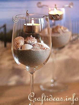 Make tea light candle holder inserts completely coastal for Beach wine glass candle holders