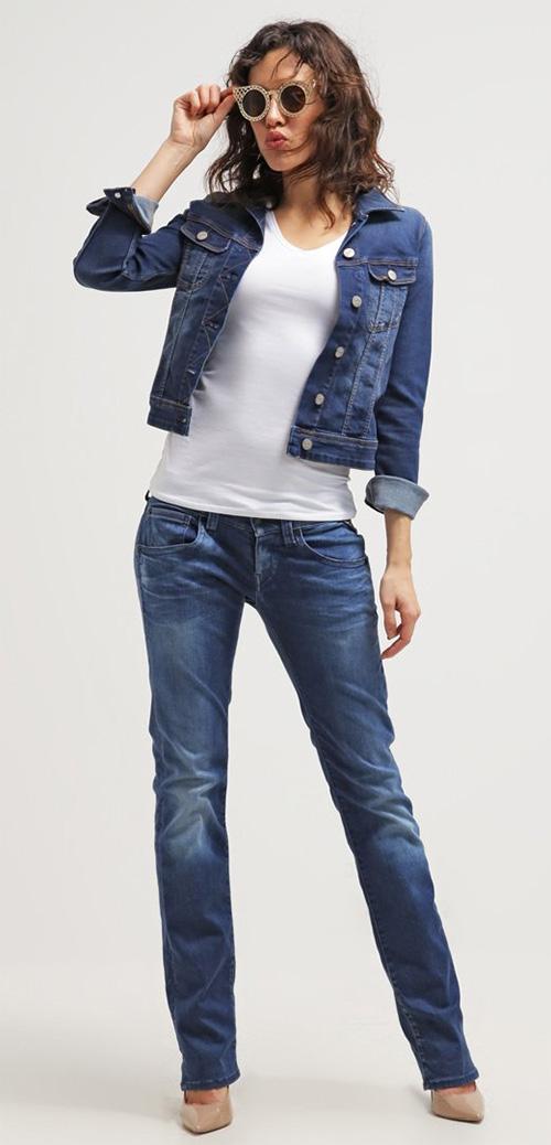 Jean droit femme taille basse Replay bleu délavé