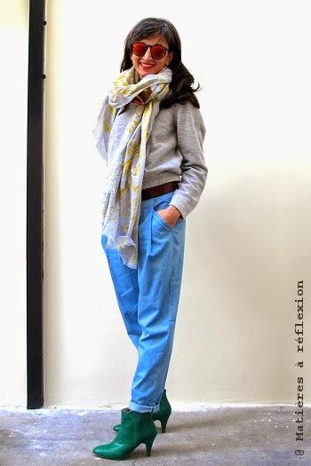 Pyrus London pantalon denim bleu ciel coton