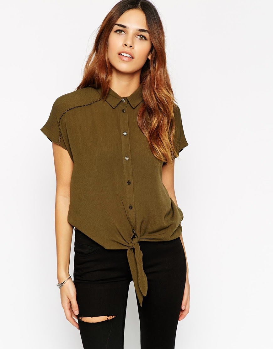 khaki blouse asos, tie front short sleeve shirt