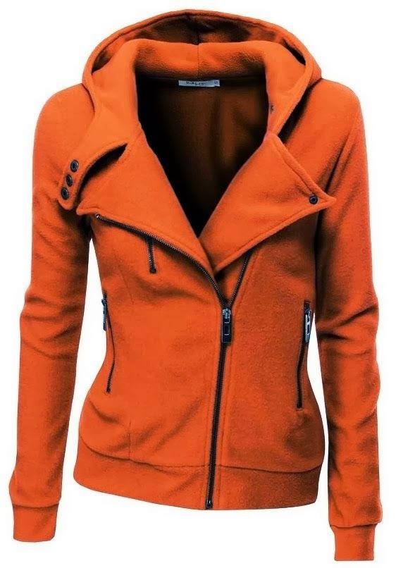 Amazing Orange Comfy Long Sleeves Zip up Jacket Hoodie for Ladies