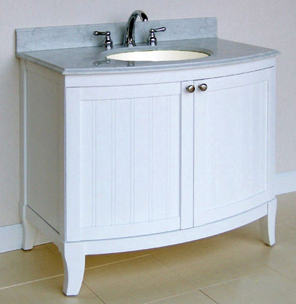 Unique Art Bathe Lily 55 White Bathroom Vanity Solid Hardwood Vanity
