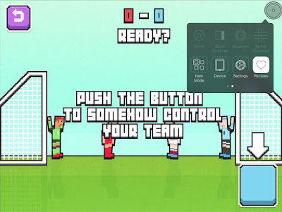 "A pixelated side on view of two teams of two football players by their goals. The text, ""push the button to somehow control your team"" is displayed. Bottom right is a large blue button with an arrow pointing at it. The iOS Switch Recipe icon is about to be selected within the IOS switch accessibility menus. Accessible Gaming for one-switch play."
