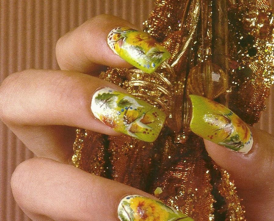 Uñas acrilicas -claveles de otoño