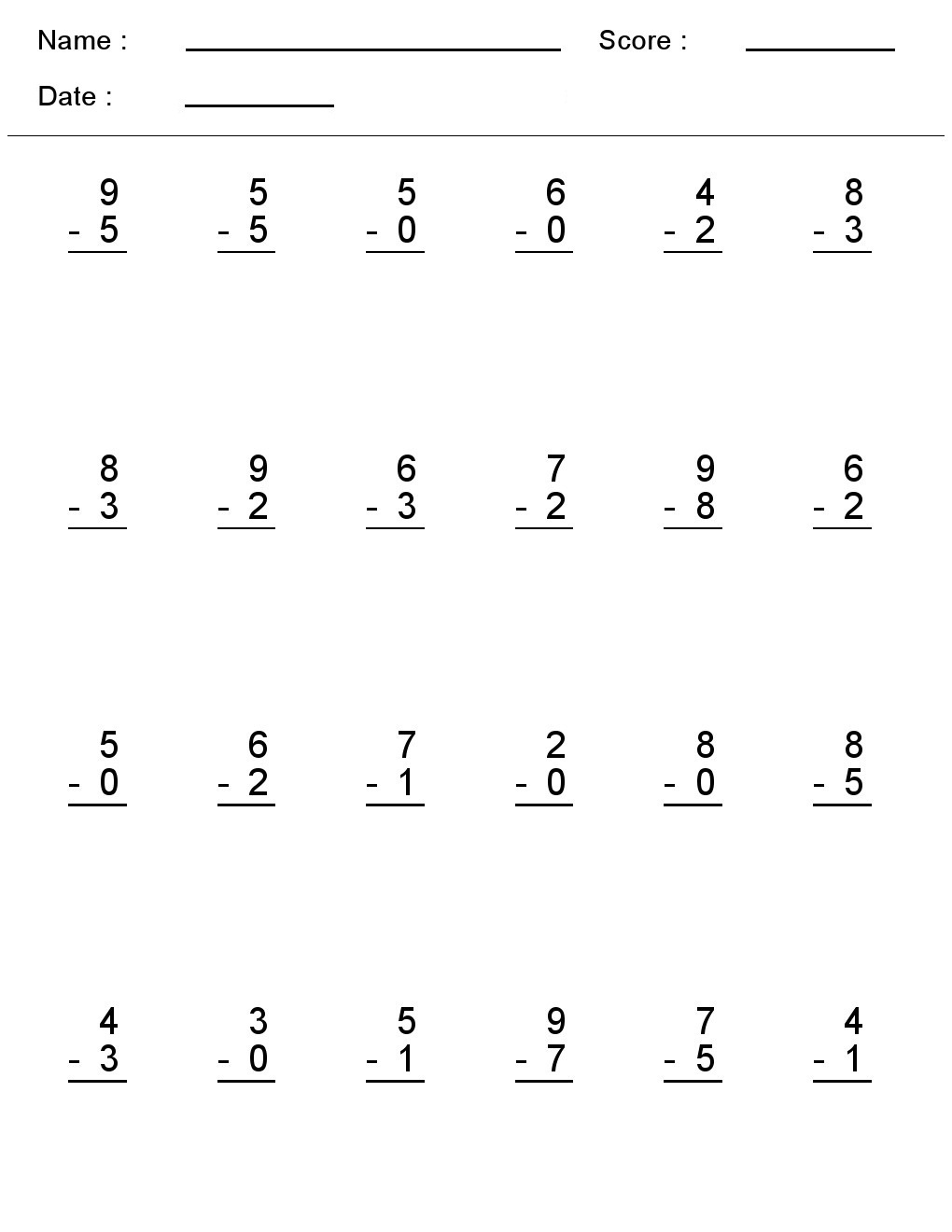 math worksheet : kindergarten worksheets maths worksheets  subtraction worksheets  : Single Digit Division Worksheet