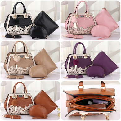 BONIA BAG ( 3 IN 1 SET ) - BLACK , BROWN , KHAKI , PINK , PURPLE