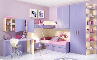 dormitorio lila rosa niña