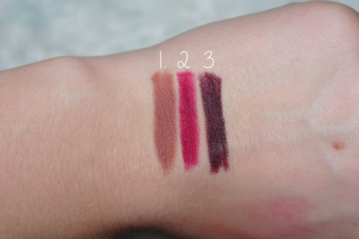 mac lipliners in beet, spice and nightmoth