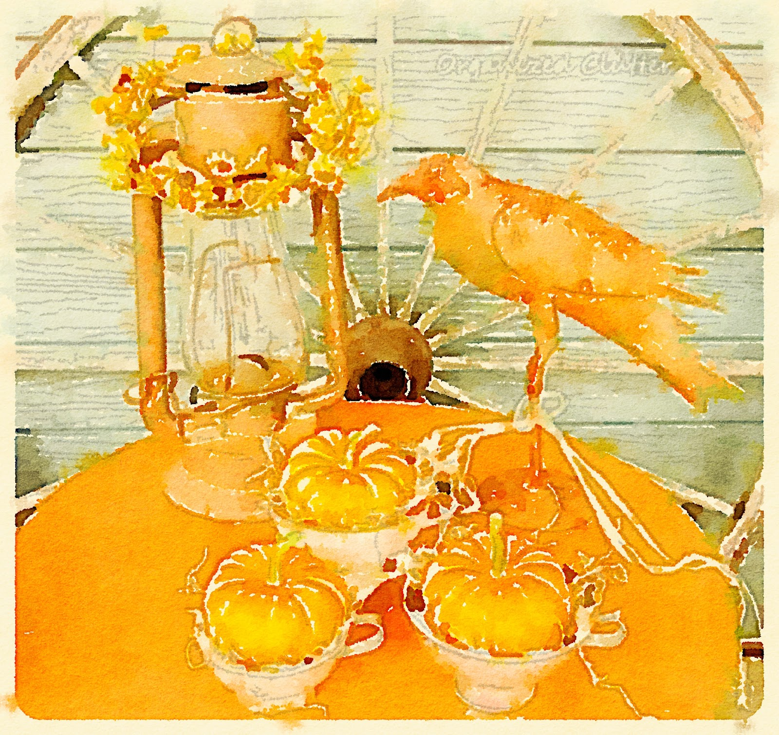 Waterlogue Fall Cover Patio Vignette www.organizedclutterqueen.blogspot.com