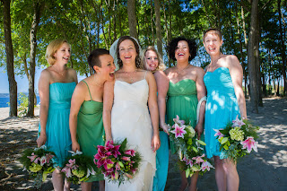 Alisha and her gals - Patricia Stimac,Seattle Wedding Officiant