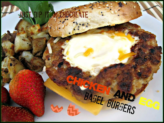Chicken and Egg Bagel Burgers, a perfectly seasoned chicken patty with an egg nested in the middle of it served on a toasted bagel, perfect for brunch or a light dinner