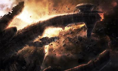 La Prometheus embistiendo la nave de los ingenieros.