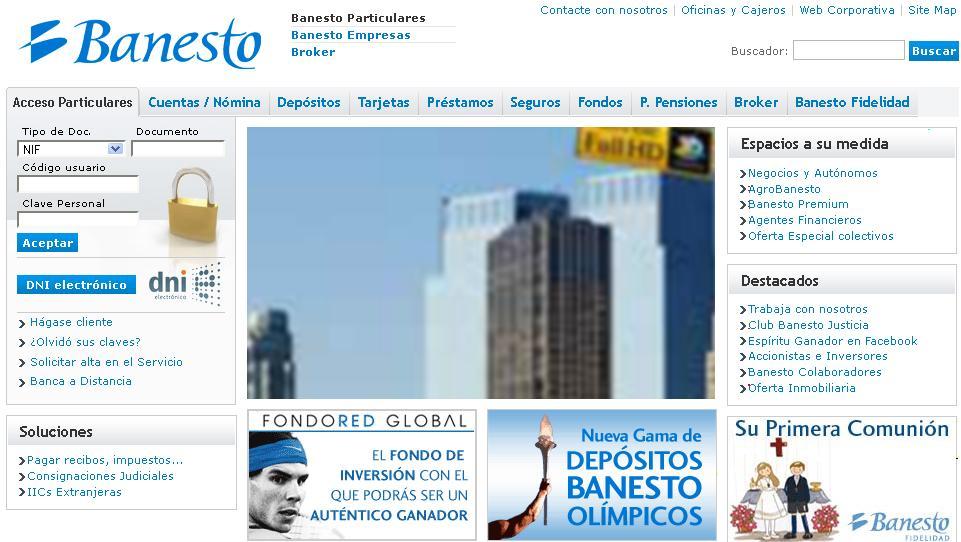 Banesto particulares una an lisis de su web for Banesto oficinas