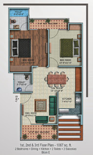 Oxford Square :: Floor Plans,Super Area 125 Sq. Yd. :-First Floor Plan 2 Bedrooms + Dining + Kitchen + 2 Toilets + 2 Balconies Super Area: 1067 Sq. Ft.