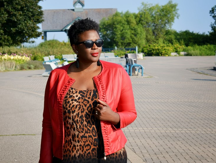 PLus size style inspiration Fall outfit #leopard print #red #faux #leather Jacket