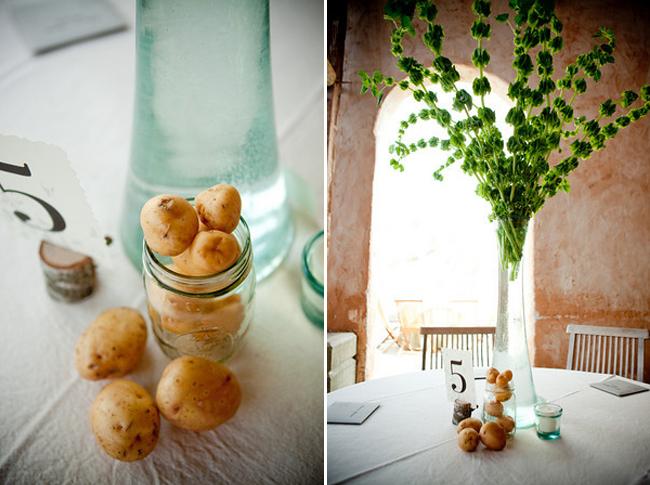 veggie centerpieces place cards for wedding
