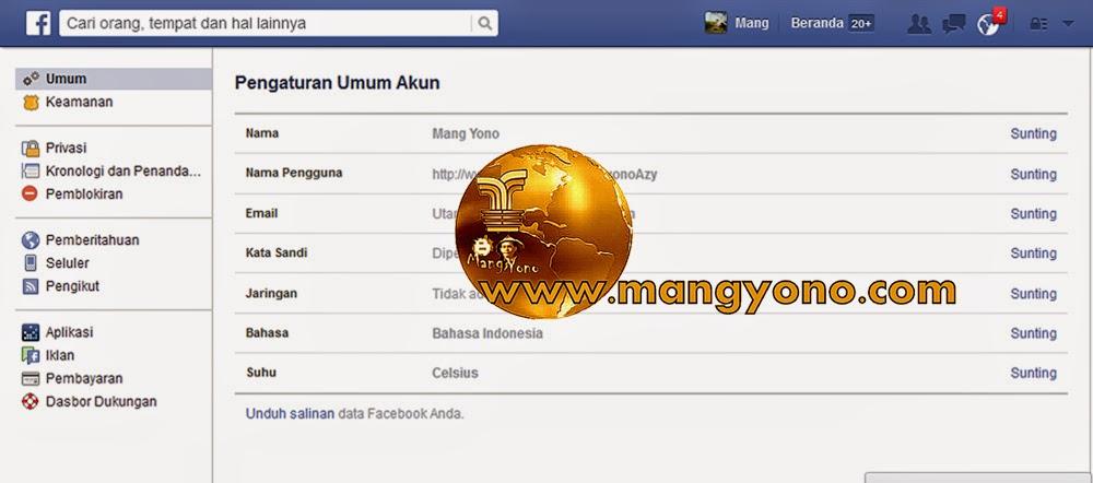 Gambar 2. Pengaturan Umum Akun Facebook