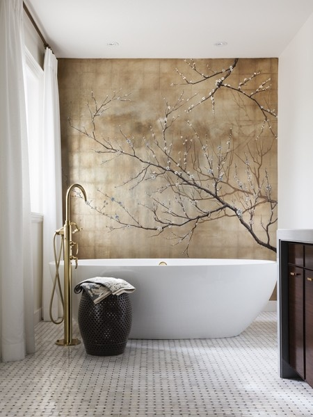 Minosa elements of the modern bathroom pt2 freestanding for Bathroom wall mural