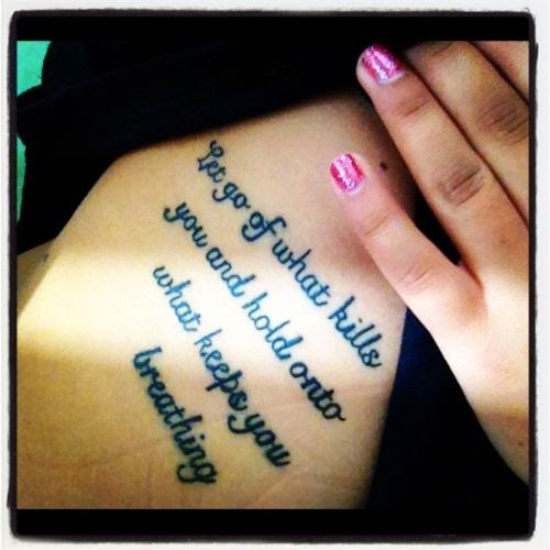 ♥  ♫ ♥ Hip side cover up tattoos | girl with tattoo quote tattoos quotes tattoo tattoos breathing ♥  ♫ ♥