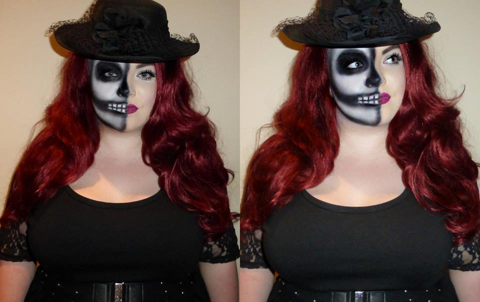 Half skull halloween makeup, georgina grogan, halloween makeup, skull, shemightbeloved