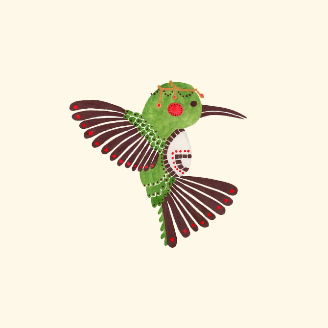The Green Hummingbird Illustration Printed on Merchandise Illustration by Haidi Shabrina