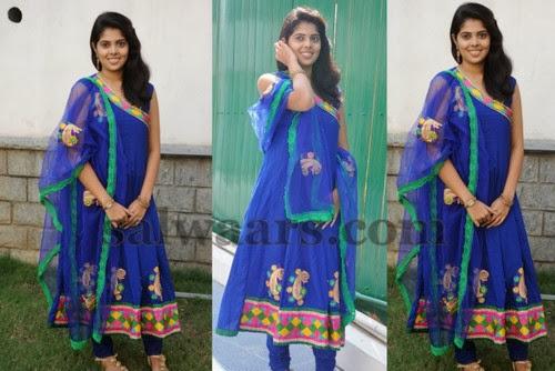 Shravya Anarkali Blue Salwar