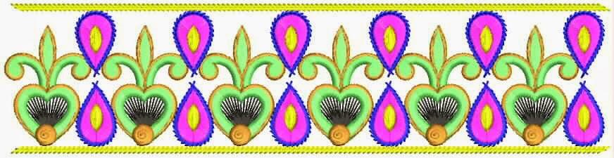 Ligte pienk en groen kleur Kant grens