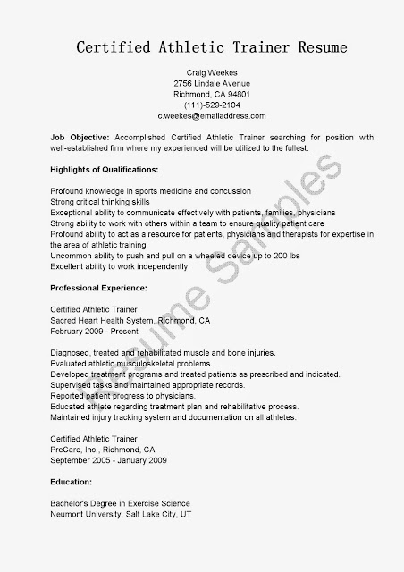 great sample resume resume samples certified athletic trainer resume