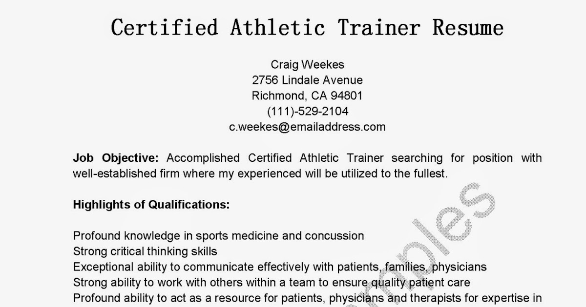 Great Sample Resume Resume Samples Certified Athletic