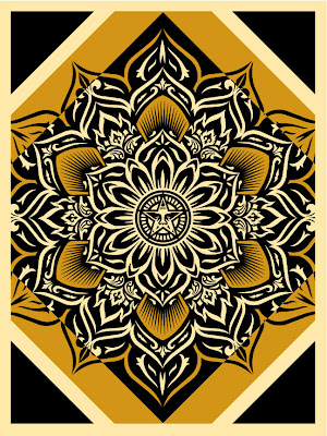 "Obey Giant ""Lotus Diamond"" Yellow Edition Screen Print by Shepard Fairey"