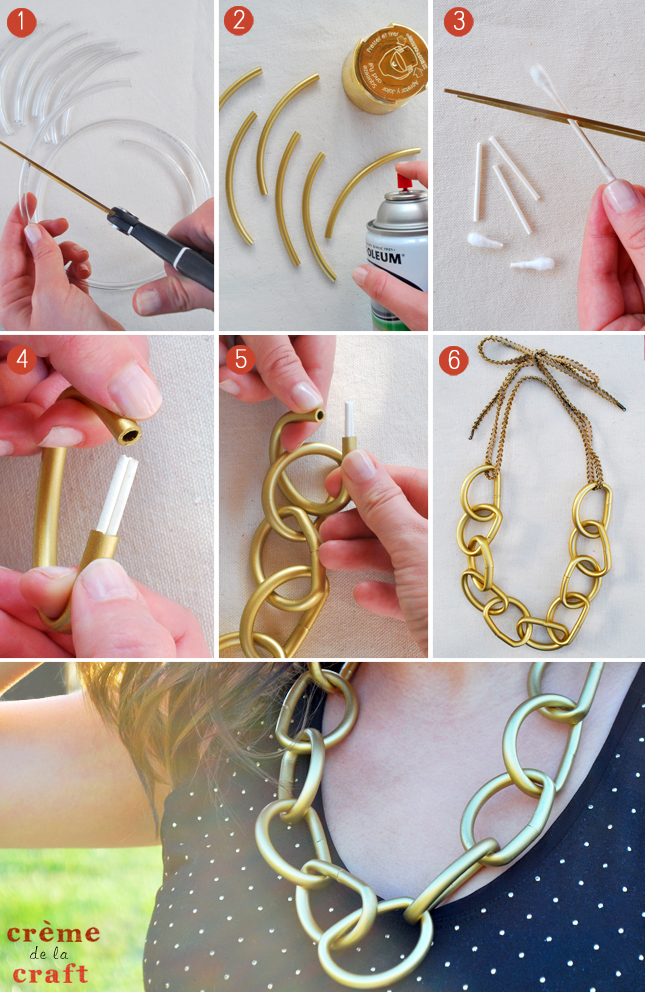 DIY Chunky Chain Necklace From Vinyl Tubes