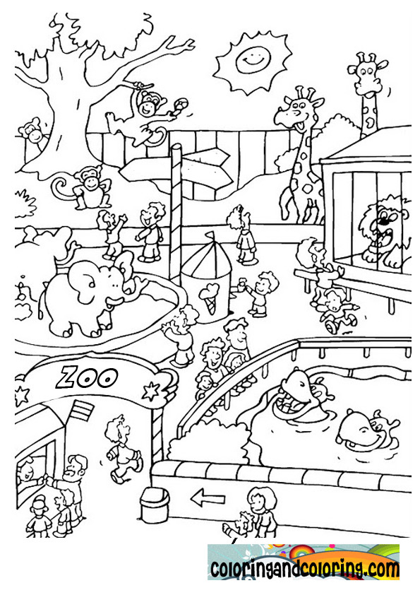 Free zoo animals kids coloring pages