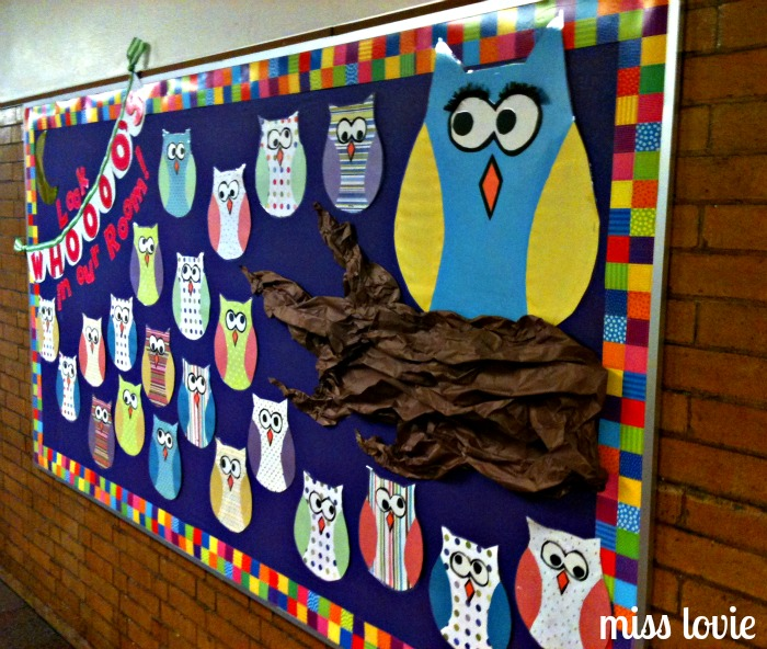 Classroom Bulletin Board Ideas With Owls ~ Miss lovie owl bulletin board and scallop bunting tutorial