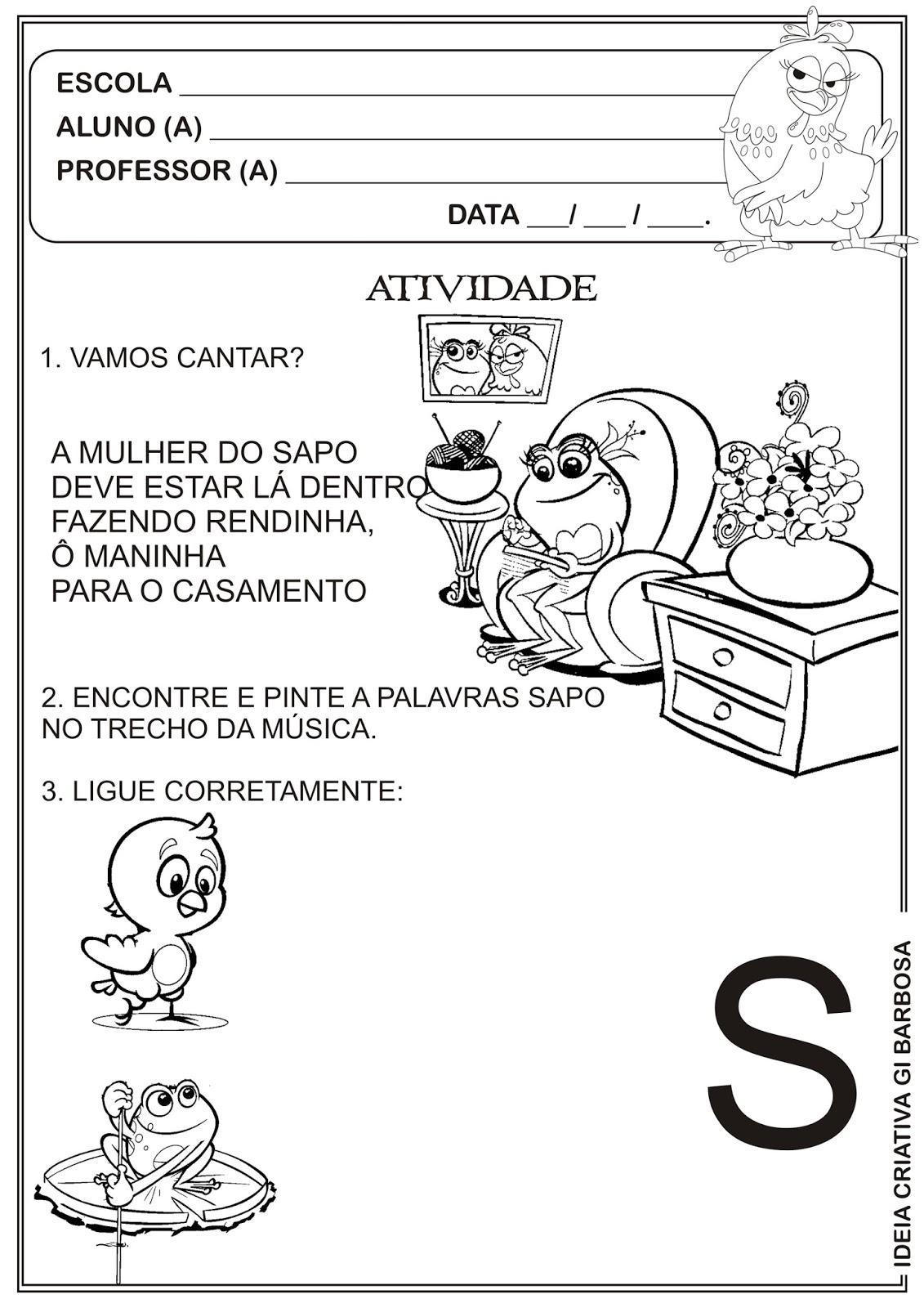 Well-known Atividade A Galinha Pintadinha Letra S | Ideia Criativa - Gi  LU29