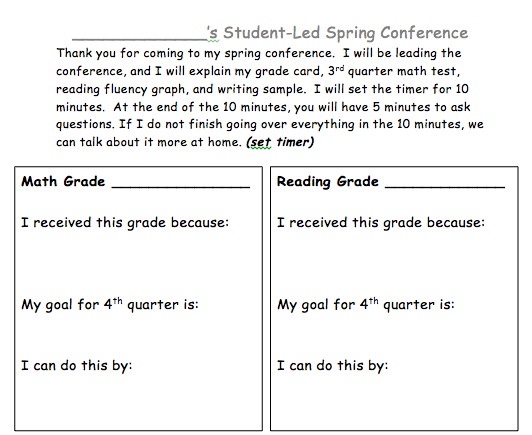 http://www.teacherspayteachers.com/Product/Student-Led-Conference-Organizer-1154599