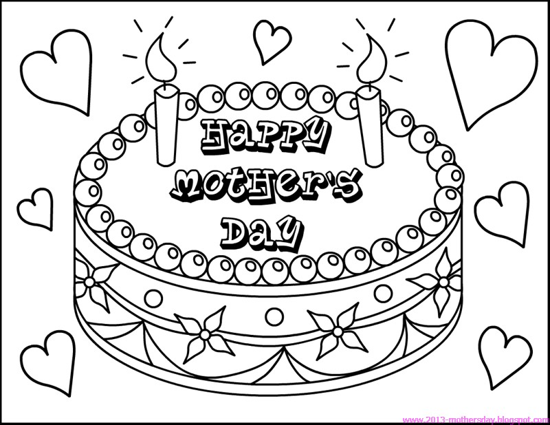 Mothers Day Cake Coloring Pages