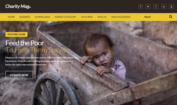 free download charity mag blogger template high quality wordpress