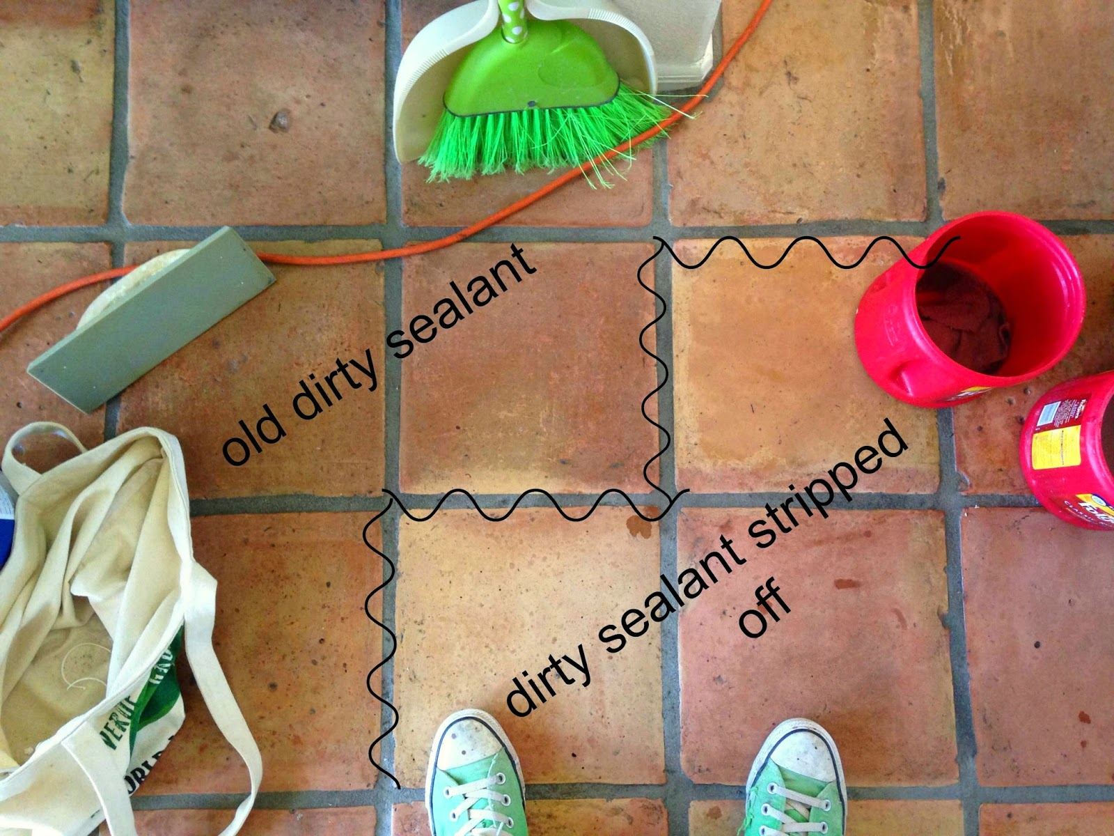 Dusty coyote stripping and sealing a saltillo tile floor hhow to strip saltillo tile floors strip saltillo tile strip terracotta tile floor doublecrazyfo Choice Image