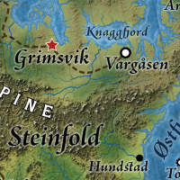 Grimsvik is the capital city of Nordheim, and also regional capital of Steinfold, Nordheim's leading realm, in the Great Caldera, World of Calidar.  Topographical map.  Stereographic Projection.