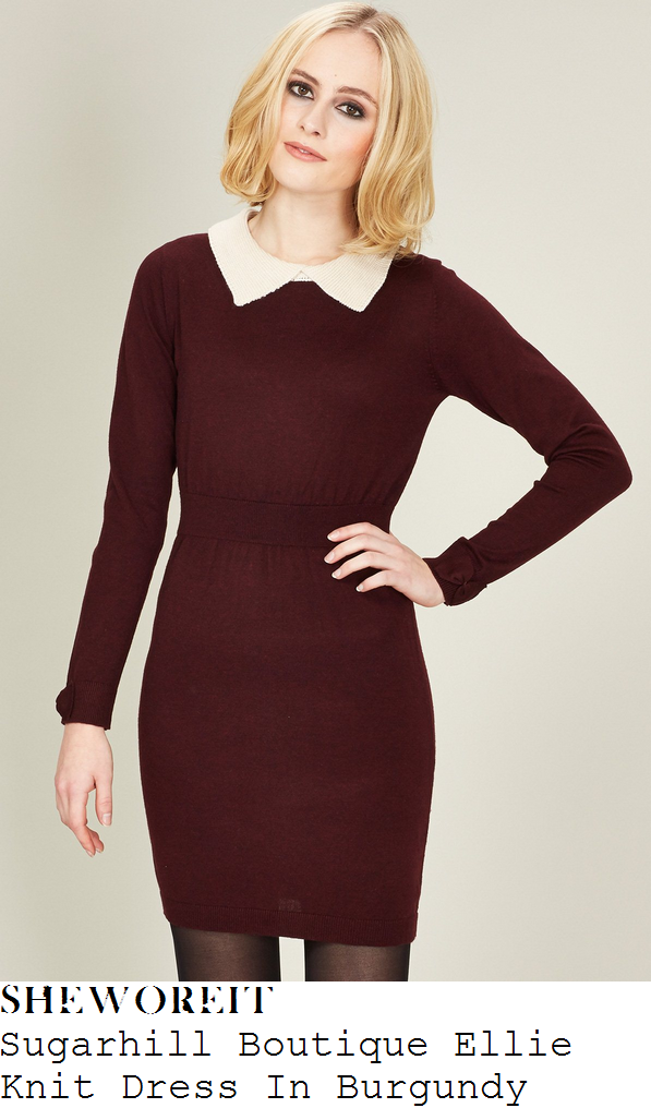 sam-faiers-burgundy-purple-white-collar-knit-long-sleeve-bodycon-dress